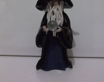 """Handcrafted sculptured Wizard """"The Wise Sage"""" with his Crystal ball"""