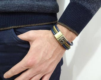 EXPRESS SHIPPING,Men's Blue,Green,Camel Leather Bracelet,Anchor Bracelet,Antique Bronze Magnetic Clasp Bracelet,Gift for Him,Christmas Gifts