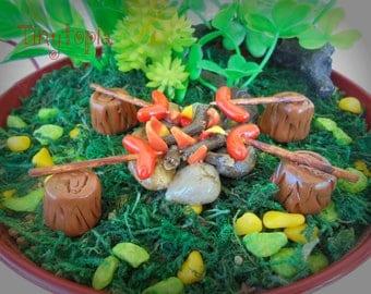 Miniature Fire Pit with Sausages  Fairy Garden Terrarium Accessory