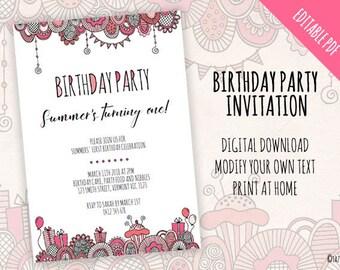 Birthday Party Invitation | EDITABLE PDF | Instant Digital Download | Modern Pink Original Doodle Design