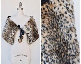 faux fur leopard print shrug wrap