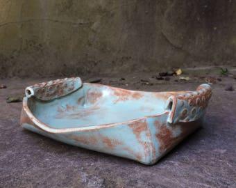 pistachio shino glazed serving dish - hand built pottery - ceramic - 10% proceeds goes to humane society