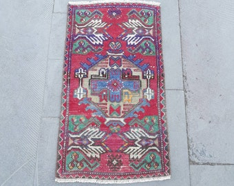 """1'5"""" x 2'7"""" Feet Vintage Mat Rug Doormat Rug Small Oushak Rug Area Rug Vintage Turkish Rug Handmade Wool Rug Bathroom Rug Free Shipping !"""