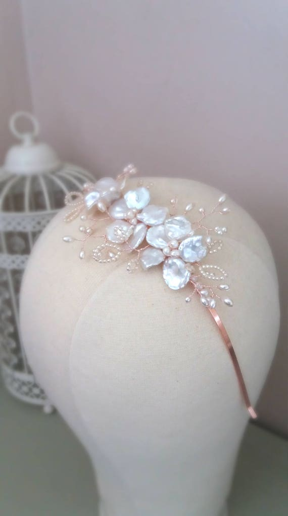 Rose Gold Keshi Pearl Side Bridal Headpiece
