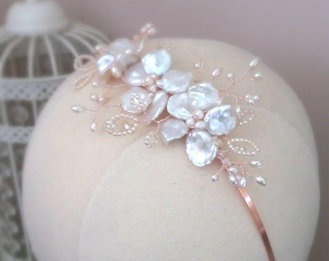 Rose gold headpiece, side headpiece, pearl side tiara, bridal headpiece, bridal headband, rose gold tiara, wedding accessory, keshi pearls