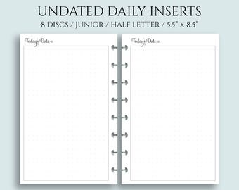Undated Daily Planner Inserts, DO1P w/ Large Dot Grid Notes Section ~ Half Size Discbound / Junior Arc, Levenger Circa (DHL-DV5-U)