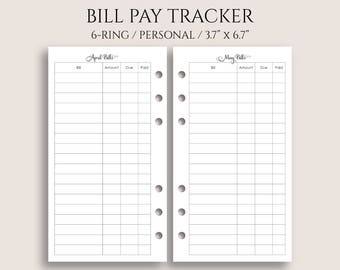 "Monthly Bill Pay Tracker Planner Inserts, Bills Due Reminder, Payment Organizer ~ Personal Rings / 3.7"" x 6.7"" for 6-Ring Filofax (P-MBP)"