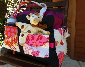 Large diaper bag, weekend bag * on order - fabric choices *.