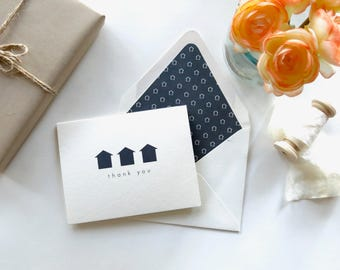 "Real Estate Agent Thank You Card- Realtor Thank You Card - Navy Geo ""Thank You"""