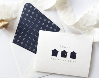 Happy House-iversary! Real Estate Agent Card - Realtor Note Cards -  Navy Houses