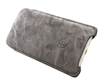iPhone 7 Plus /6S Plus Leather Handmade sleeve pouch case 100% made in italy