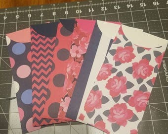 Pink and Navy Cash Envelopes