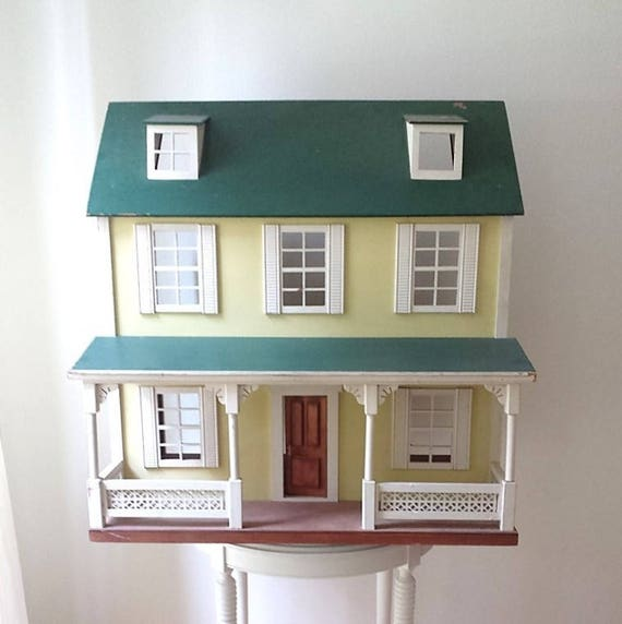 vintage large dollhouse wood dollhouse Hall's dollhouse yellow dollhouse HOUSTON LOCAL PICKUP only!