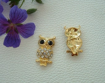 Pendant or connector OWL gold tone and rhinestones 35mm