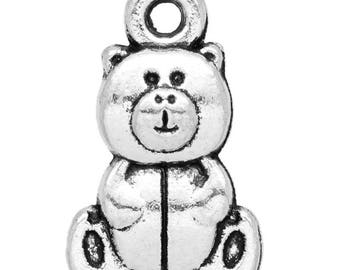 Set of 5 Teddy bear CHARMS 16X10mm antique silver Metal charms