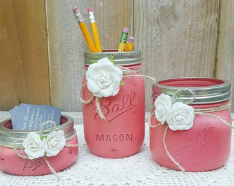 3 pc Mason Jar Desk Set