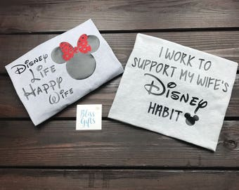 Funny Disney Shirt   Disney Couple Shirts   Disney Habit   Disney Addiction    Matching Disney Shirts   Couples Shirts   Disney Wedding