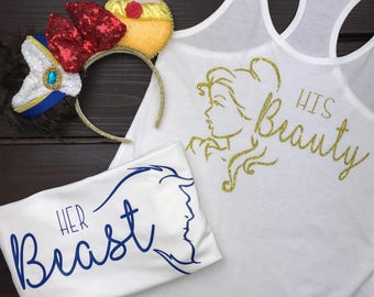 Disney Couple Shirts | Beauty And The Beast Matching Shirts | Disney Wife | Disney Wife Happy Life | Womens Disney Shirt | Disney Matching
