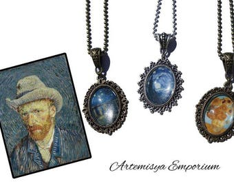 Van Gogh inspired Paint Necklace The Starry Night Sunflowers De sterrennacht Art Cammeo Classic Pendant