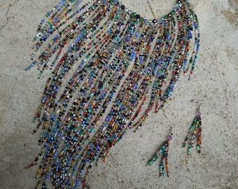 Glass Beaded Waterfall Necklace and Earrings