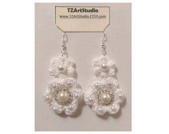 Crochet Flower and Pearls Earrings Bridal jewelry earrings Feathers or No Feathers All Colors
