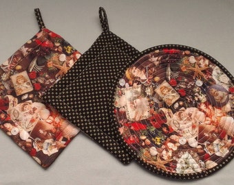 Potholder and hot pad set in funky Victorian print,with heat shield lining.