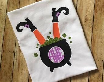 Monogrammed Witch shirt // Monogrammed Fall shirt // Monogrammed Halloween shirt // Girls shirt // Monogrammed Girls shirt