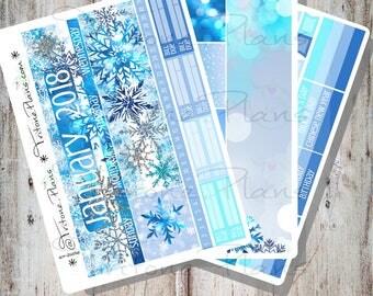 Snowflake 2 || January 2018 Monthly Sticker Kit sized for Erin Condren Life Planner || MKit025-ec18-Jan
