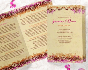 Indian Wedding Program, Printable Wedding Bi Fold, Hindu Wedding Ceremony Program   JASMINE HBF1
