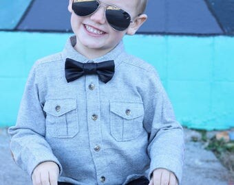 Boys bow tie, faux leather,