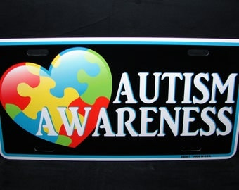 AUTISM AWARENESS Metal Car License Plate Tag For Cars