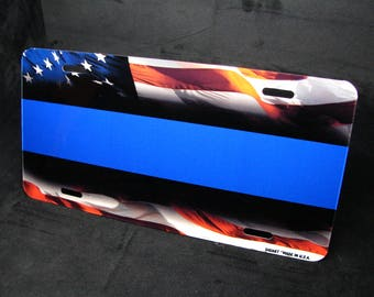 THIN BLUE LINE Police metal aluminum novelty car license plate tag American Waving Flag