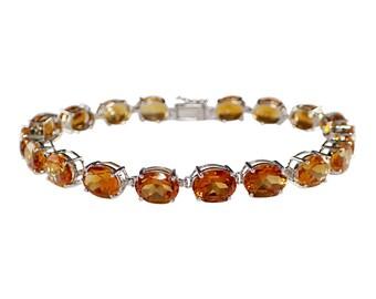 14k White Gold Citrine Bracelet, White Gold Bracelet, Vintage Bracelet