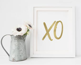 XO Print - Gold XO - XO Sign - Bedroom Wall Art - Bedroom Print - xoxo - Gold Wall Decor - xo Poster - Printable Art - Master Bedroom Art