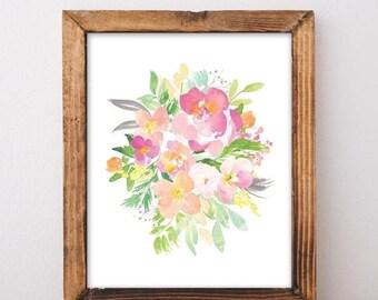 ON SALE Printable Art - Floral Wall Art - Watercolor Floral Print - Watercolor Flowers - Watercolor Printable - Pastel Decor - Digital Downl