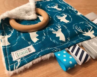 """5"""" Taggie Toy with 2"""" Wood Teether - Deer"""