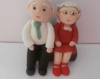 Edible elderly couple, can customize,cake topper,decoration,anniversary,celebration,birthday