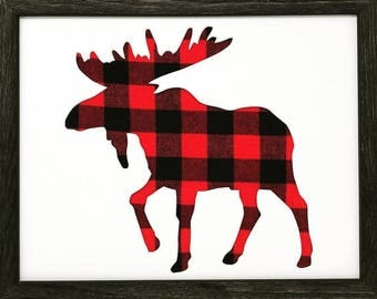 "11x14 1.75"" Rustic Black Frame with Moose and Buffalo Plaid"
