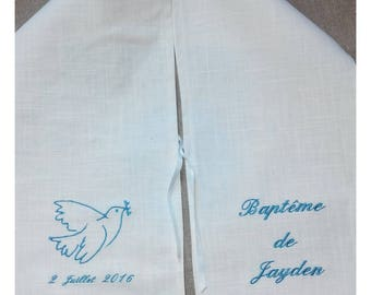 scarf turquoise embroidery with Dove baptism