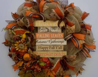Fall Wreath, Harvest Wreath, Autumn Wreath, Deco Mesh Harvest Wreath, Happy Fall Y'all Wreath, Fall Welcome Wreath, Thanksgiving Wreath
