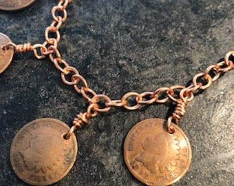 Handmade Copper Coin Charm Bracelet
