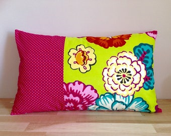 Cushion cover 50 x 30 cm of cotton, flowers, fuchsia and lime green