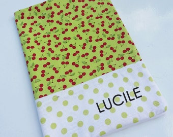 Health booklet protection cover personalized name cherries
