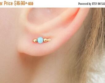 SALE - Opal Earrings - Ear climber - Opal bar earrings - Tiny bar studs - Tiny opal stud