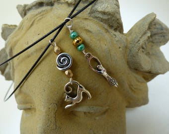 Cat and Fertility Godess chokers. Spiral of life, familiar, fertility, pagan.