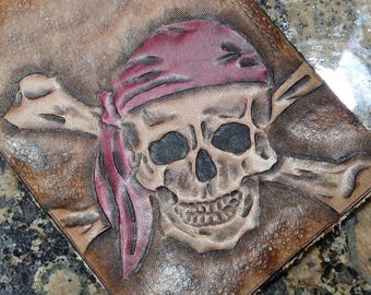 pirate skull wallet -- Hand Tooled Leather Billfold -- Jolly Rogers Cross Bones  -- USA MADE!