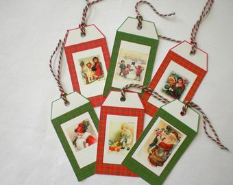 Six Christmas tags vintage on Plaid background images