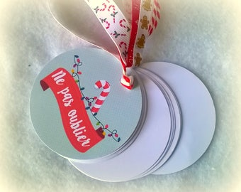 "Pocket notebook with round ""don't forget"" Christmas red and blue + charm + gift bag"
