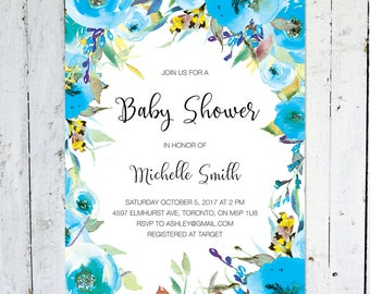 Baby Shower Invitation Boy, Floral, Watercolor, Wreath, Blue, Yellow, Fall, Boy Baby Shower Invitation, Printed, Printable