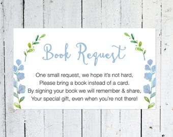 Book Request Insert, But, Floral, Greenery, Bring A Book Instead Of A Card, Boy, Printable, Instant Download, Books For Baby